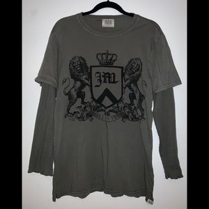 Juicy Couture Men's Army Green Long-Sleeve T